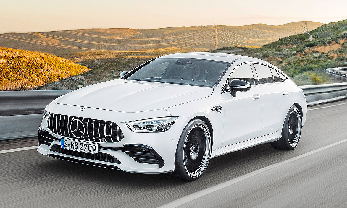 The Long Teased Mercedes Amg Gt Four Door Will Come In Three Variants Two With A V 8 And One An Inline Six Engine Go On Early Next Year