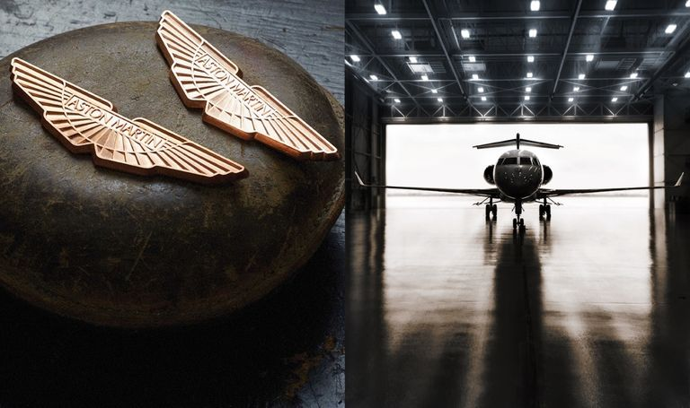Aston Martin wings and Bombardier jet