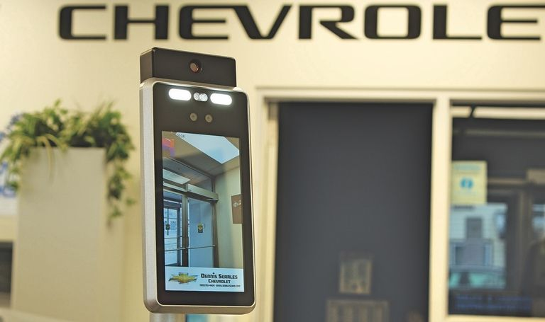 Digital greeter named Janus pre-screens showroom customers for COVID-19