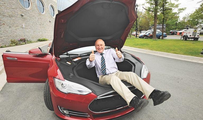 Jeff Dahn in a Tesla frunk